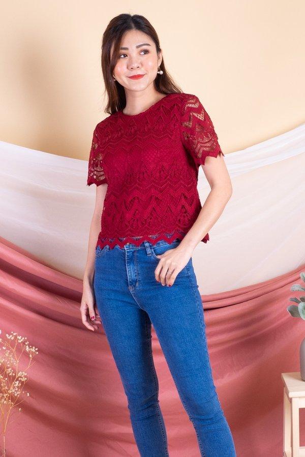 Savannah Crochet Sleeved Box Top in Red