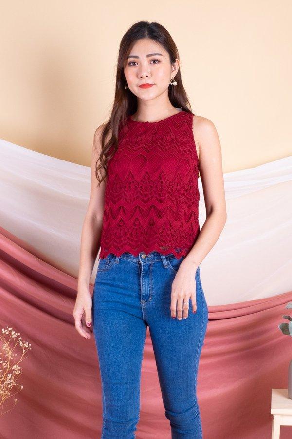 Renee Crochet Top in Red
