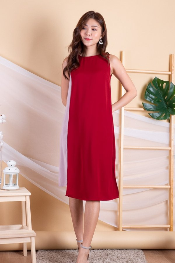 Taffy Colourblock Trapeze Dress in Red/Dust Pink