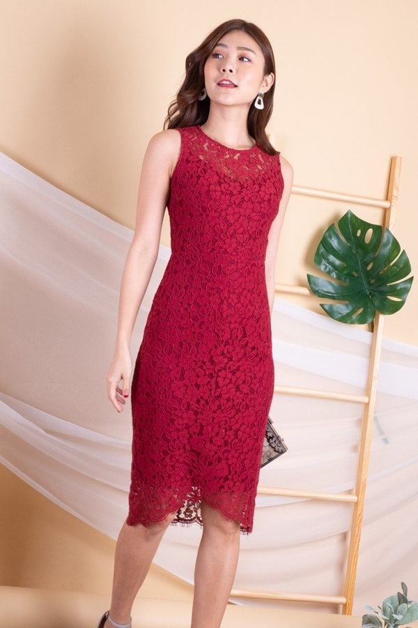 Wynnie Lace Panel Bodycon Dress in Wine Red