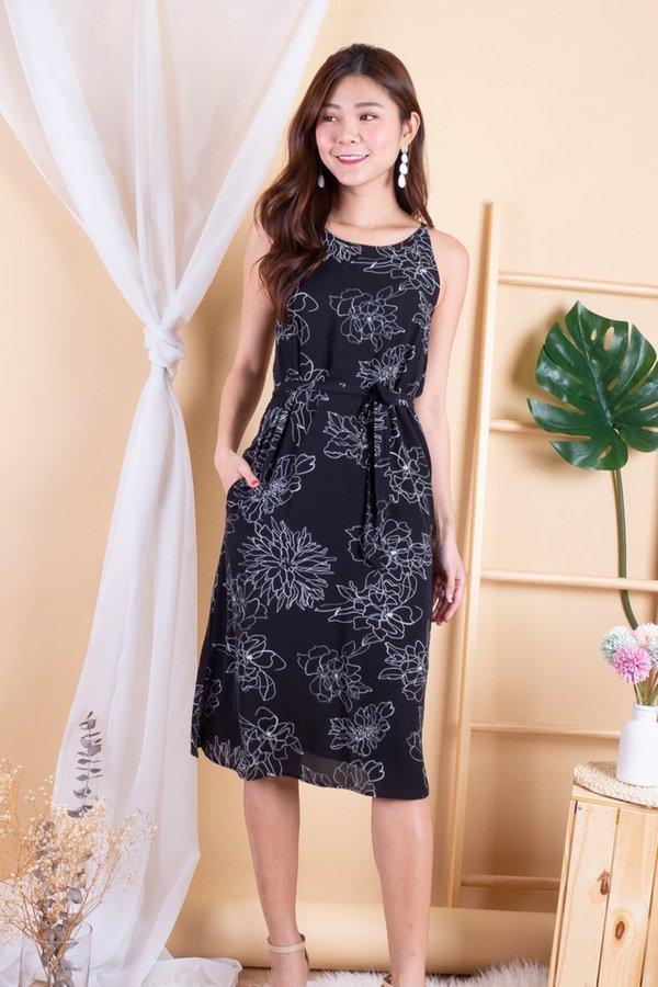 Olsen Halter Sash Dress in Black Floral