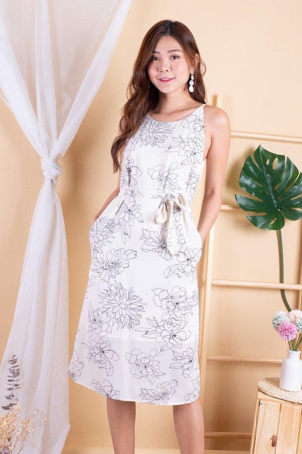 Olsen Halter Sash Dress in Cream Floral
