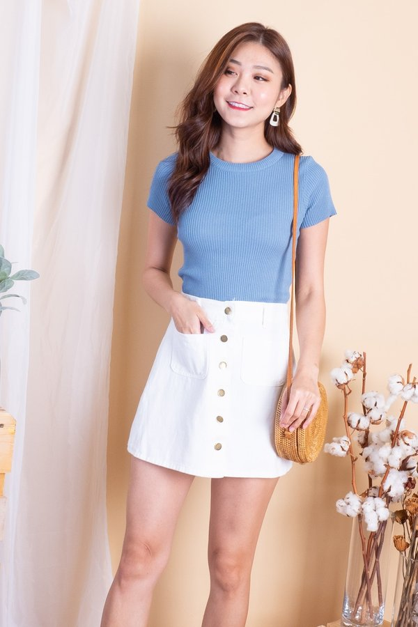 BACK IN STOCK Tasha Denim Skirt in White