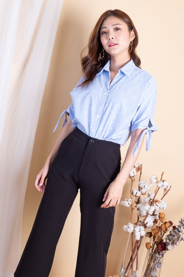 BACK IN STOCK Ebba Buttons Tie Sleeves Shirt in Sky Polka