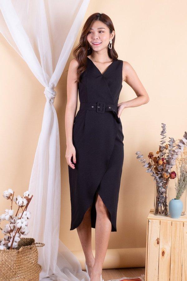 Barke Crisscross Overlap Dress in Black