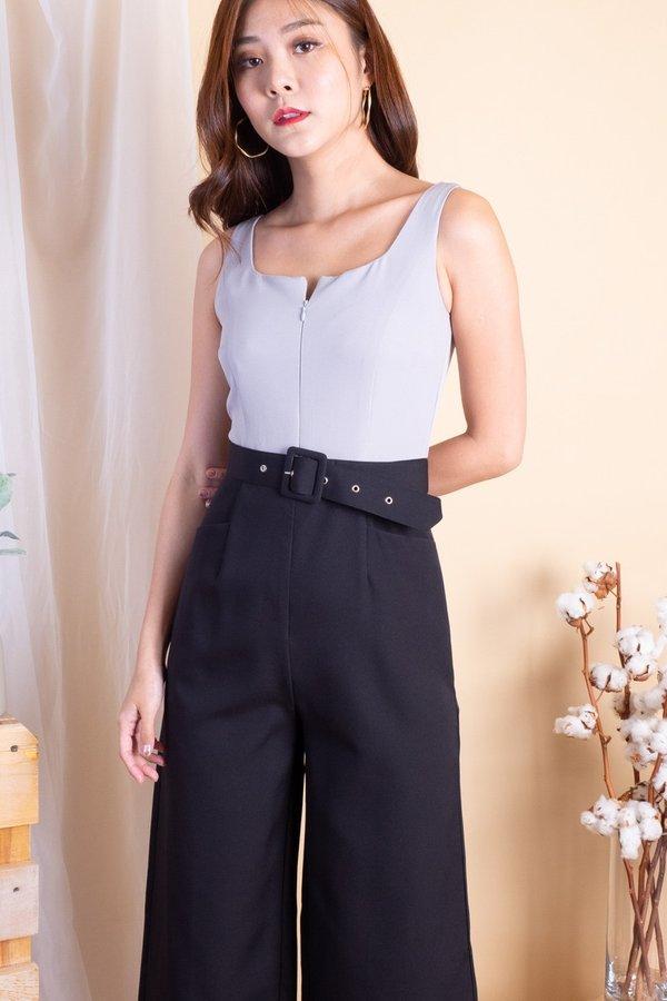 Raveen Front Zip Jumpsuit in Grey/Black