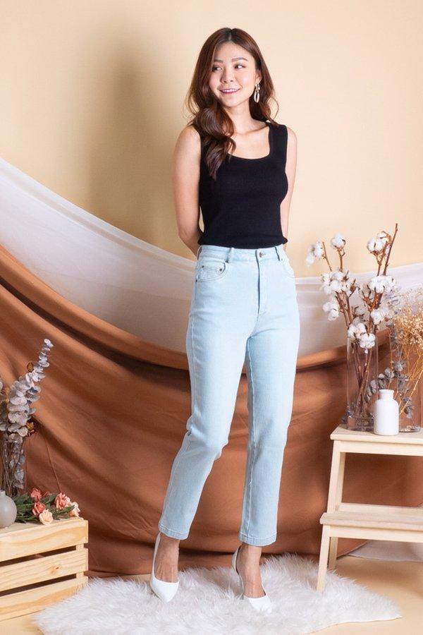 Kano High-Waist Straight Cut Jeans in Light Wash [L/XL]