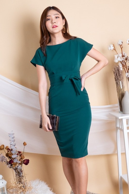 Chelsea Bodycon Work Dress in Forest