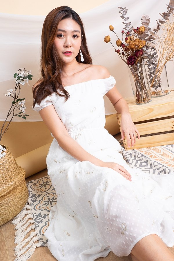 Haile Embroidery Floral Maxi Dress in White