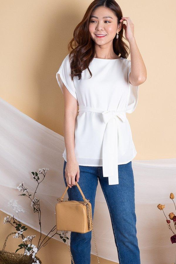 Sandra Broad Cut Box Top in White [L]