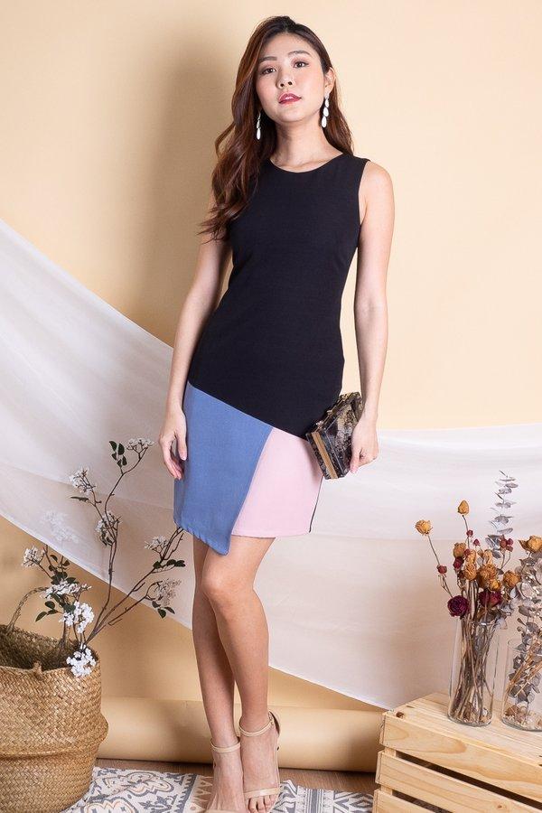 Riane Overlap Colourblock Work Dress in Blue/Pink [XS]