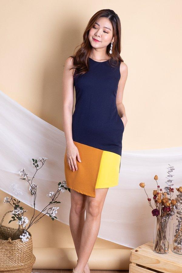 Riane Overlap Colourblock Work Dress in Caramel/Yellow [XS]
