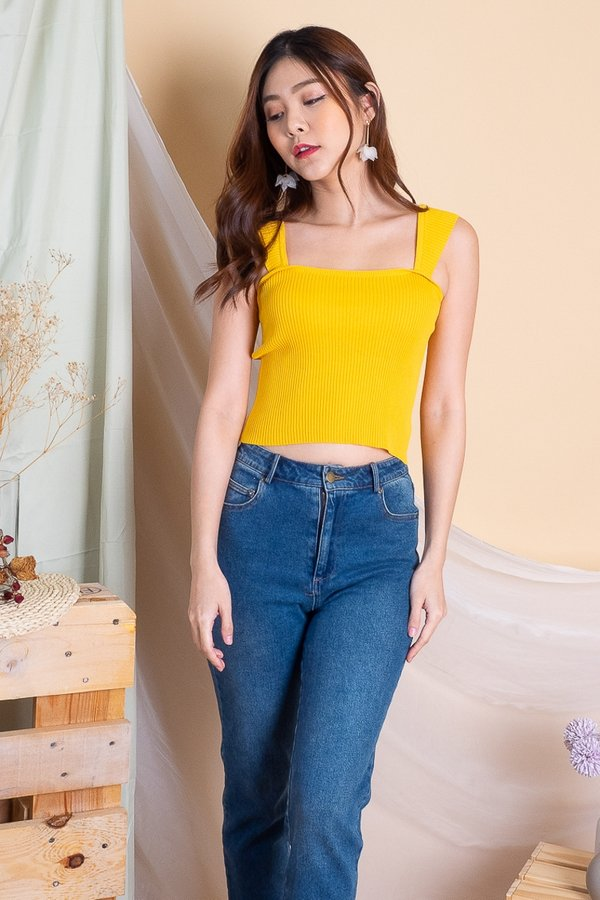 Ady Basic Ribbed Knit Top in Yellow