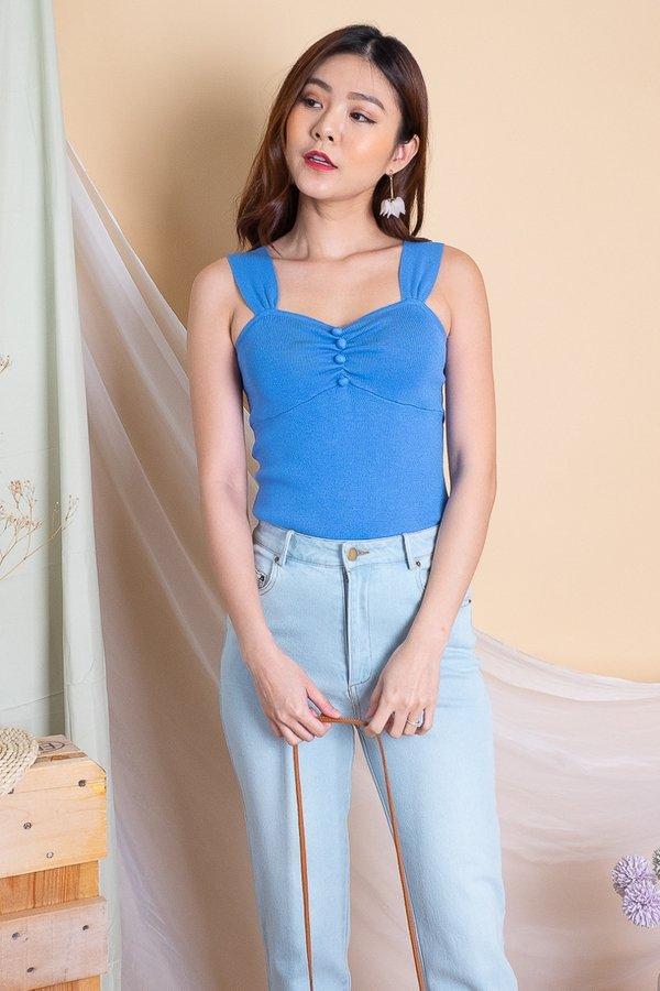 Emily Sweetheart Knit Top in Blue