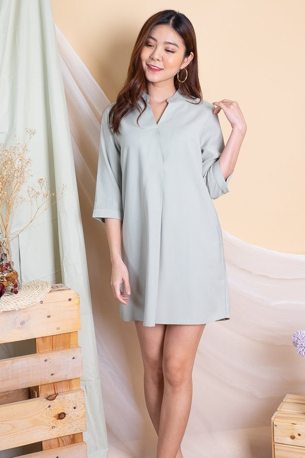 Lakyn Overlap Collar Shirt Dress in Mint