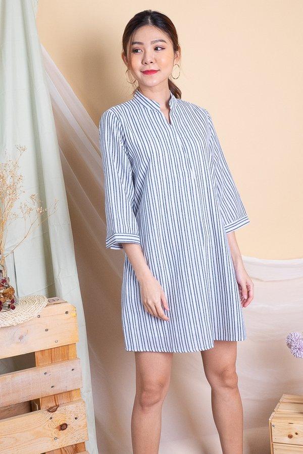 Lakyn Overlap Collar Shirt Dress in Blue Stripes [XL]