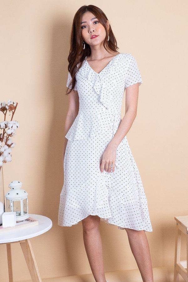 Phila Waterfall Ruffled Midi Dress in White Polka [S]