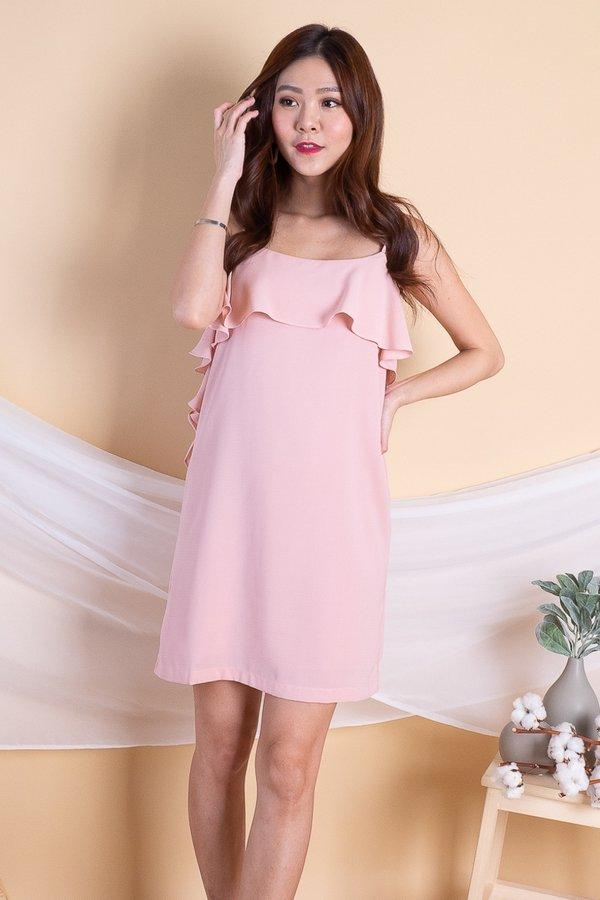 Trixy Side Ruffled Dress in Pink