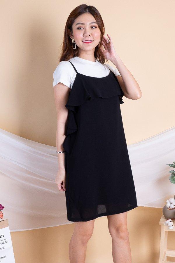 Trixy Side Ruffled Dress in Black
