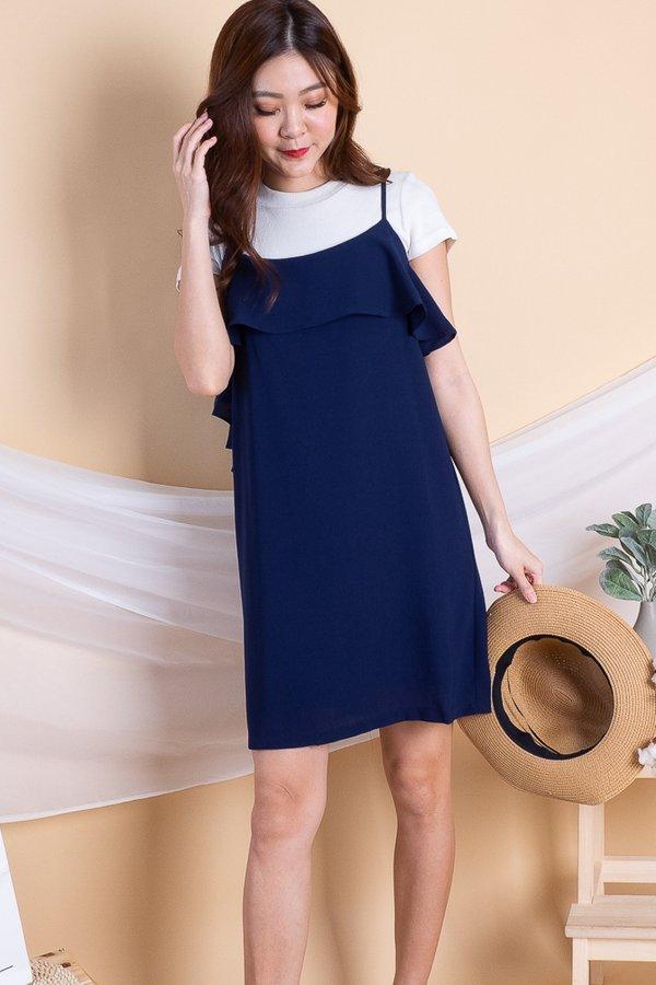 Trixy Side Ruffled Dress in Navy [L]