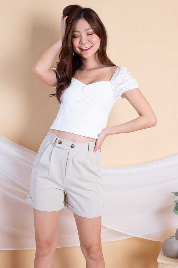 BACK IN STOCK Kath Double Buttons High-Waist Shorts in Nude