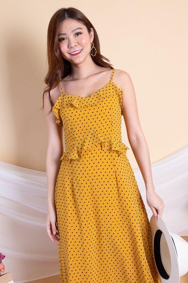 Efrona Flutter Swiss Dot Dress in Mustard