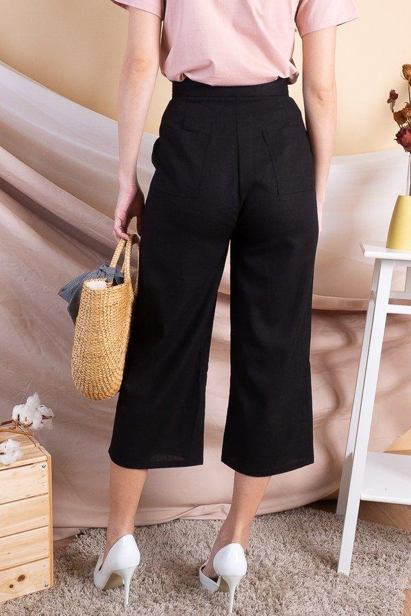 Lena Linen Culottes in Black