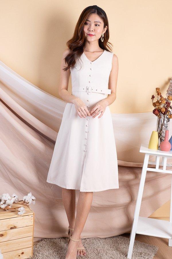 Gemini Buttons Down Midi Dress in Cream