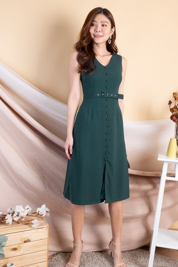 Gemini Buttons Down Midi Dress in Forest
