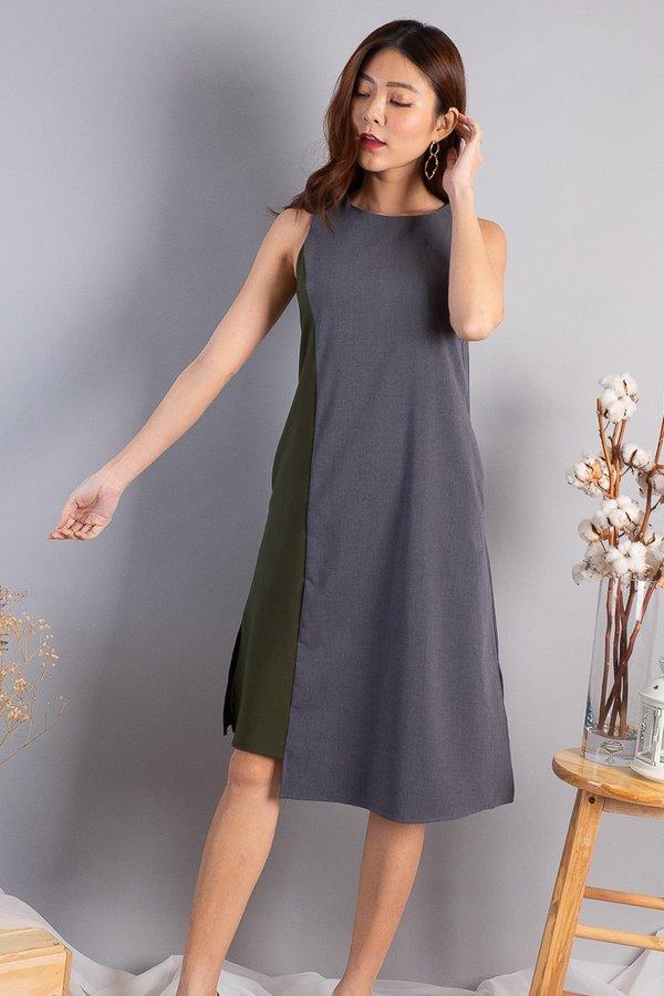 Taffy Colourblock Trapeze Dress in Olive/Grey