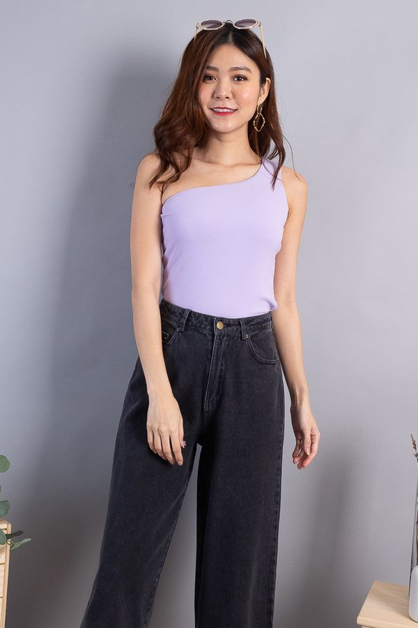 Becka Basic Ribbed Toga Top in Lilac