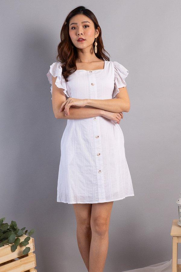 Jaklyn Square Neck Flutter Sleeves Dress in White