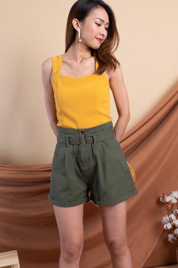 Sango Denim Shorts in Olive