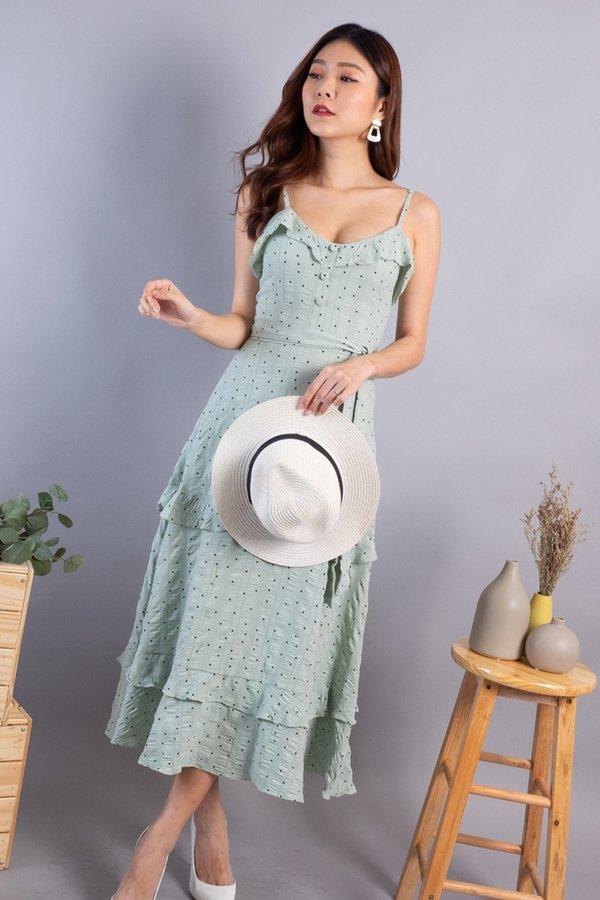 Riya Ruffled Tier Dress in Sage