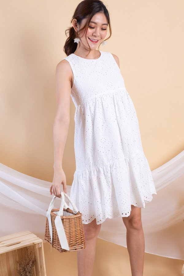 Claire Eyelet Babydoll Dress in White