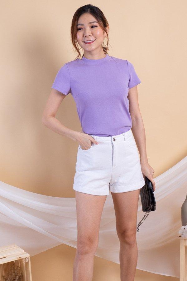 Darolyn Basic Ribbed Knit Top in Lilac