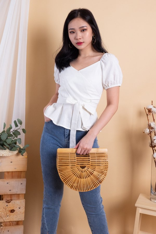 Hye 2-Way Wrap Top in White