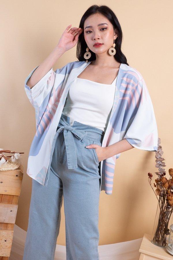 Makiyo Reversible Kimono Outerwear in Light Pastel/Sage