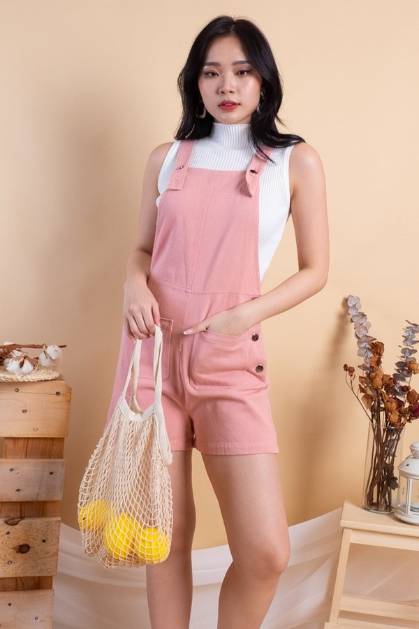 Kennedy Double Pockets Denim Dungaree in Pink [L]