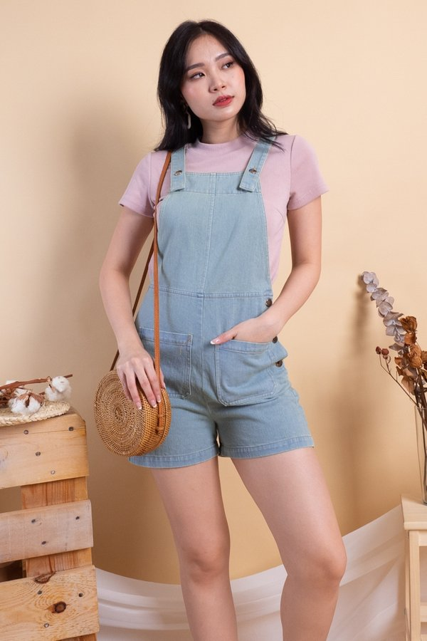 Kennedy Double Pockets Denim Dungaree in Light Wash
