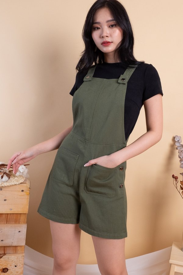 Kennedy Double Pockets Denim Dungaree in Olive