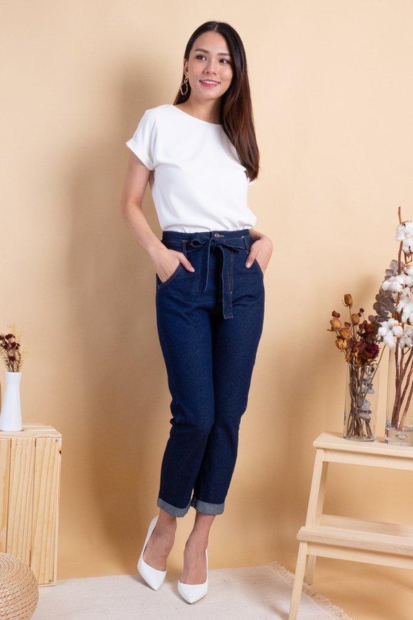 Jordan High Waist Cuffed Jeans in Dark Wash