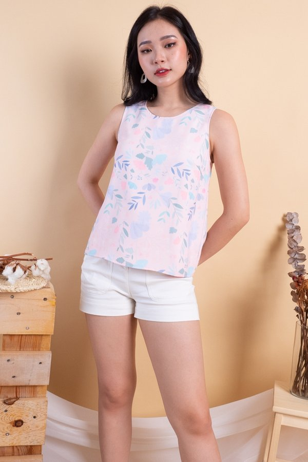 BACK IN STOCK Edme Reversible Top in Pink Floral/Pink Polka