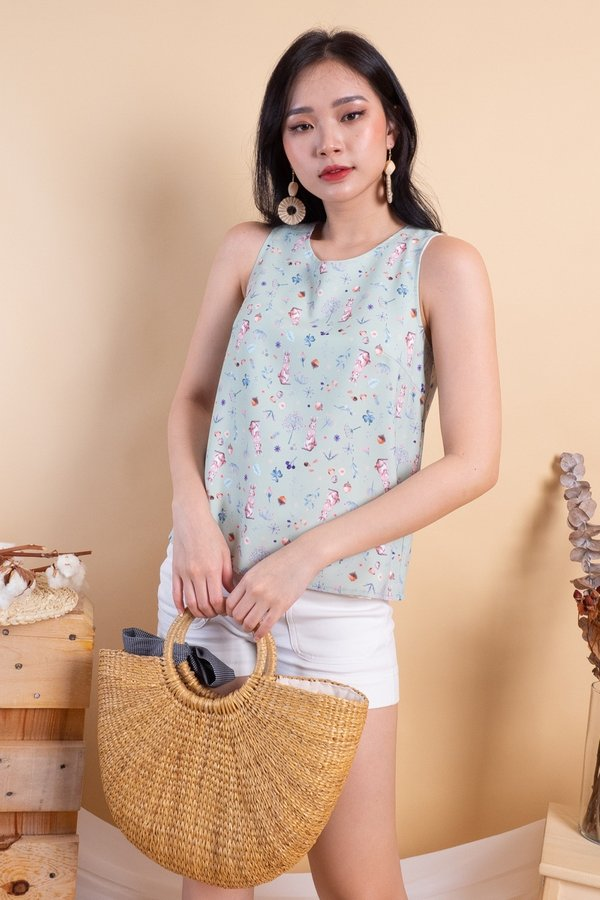 BACK IN STOCK Edme Reversible Top in Sage Bunny/Pink Gingham [M/L]