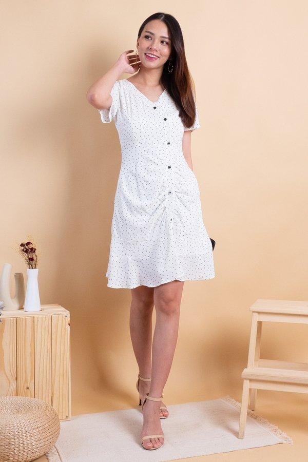 Heidi Flutter Hem Dress in White