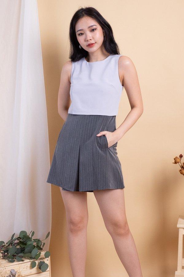 Jesebelle Double Pockets Romper Dress in Dove Grey [M]