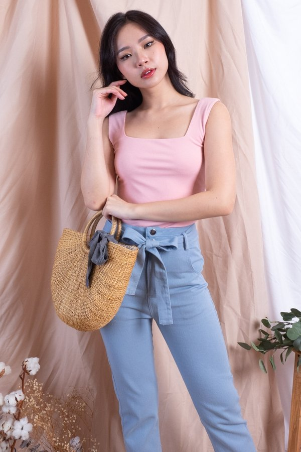 Netty 2-Way Basic Ribbed Top in Pink