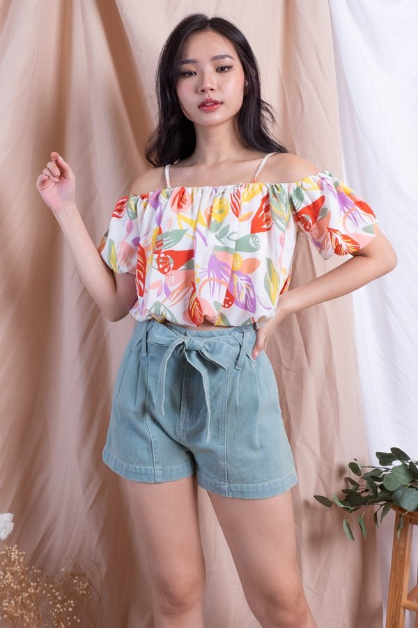 Rheanna Cold Shoulder Top in White Abstract