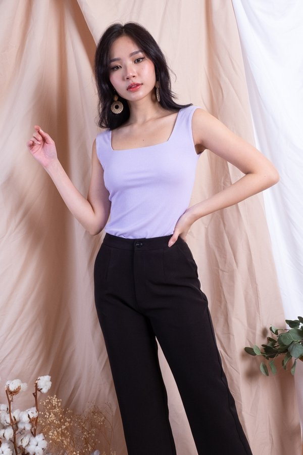 Netty 2-Way Basic Ribbed Top in Lilac