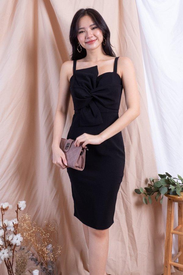 *PREMIUM* Aldora Bow Bodycon Dress in Black